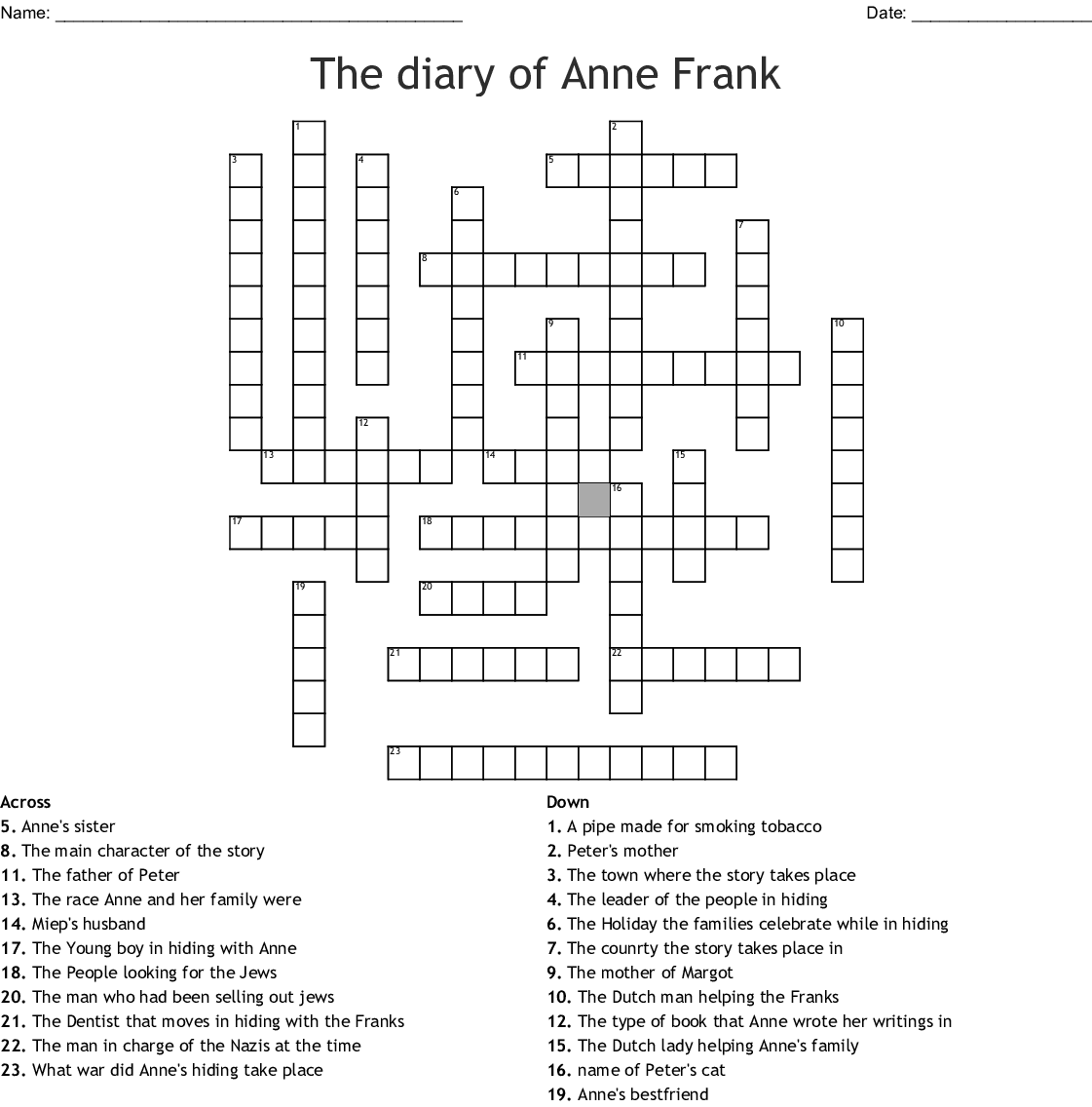 The Diary Of Anne Frank Crossword