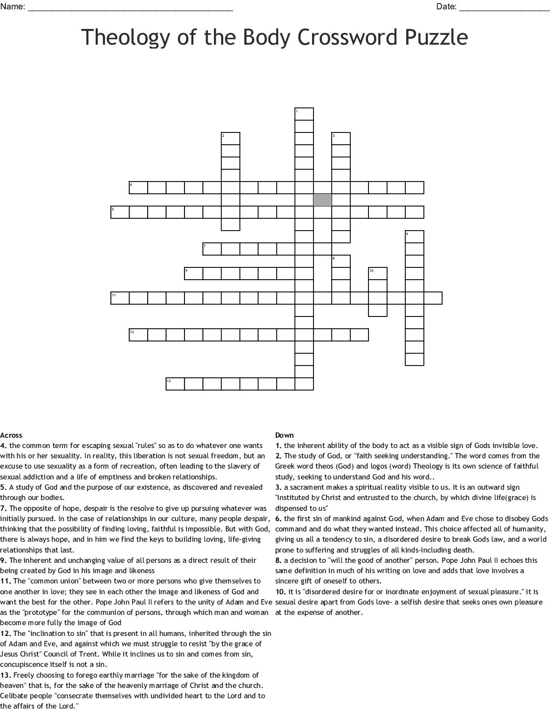Theology Crossword