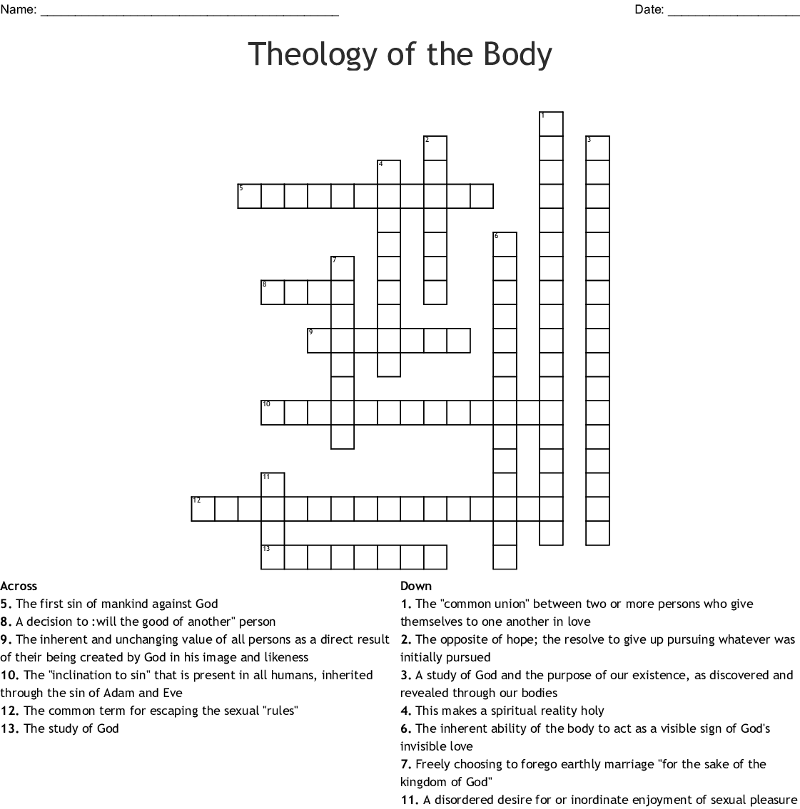 Theology Crossword