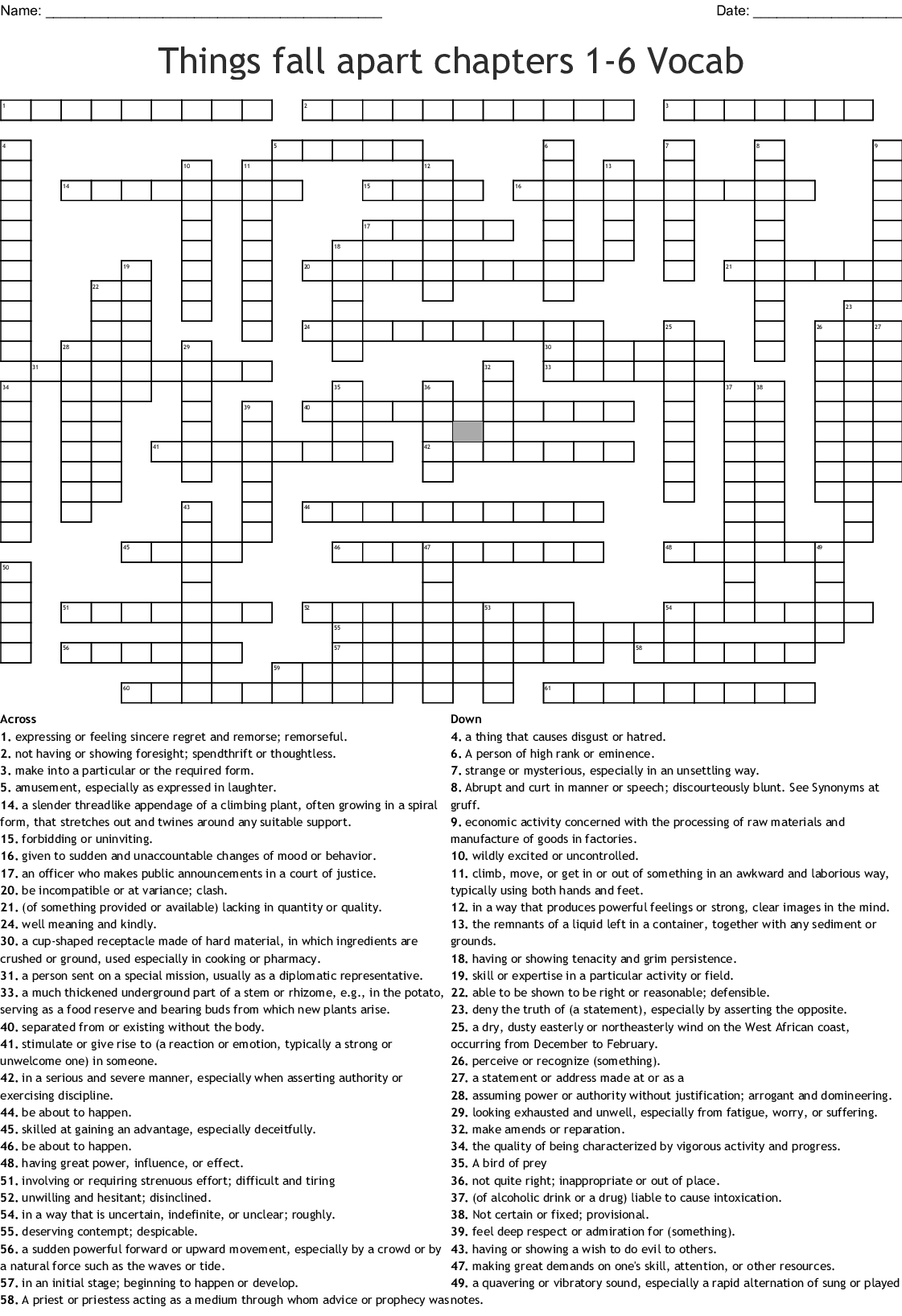 Things Fall Apart Chapters 1 6 Vocab Crossword