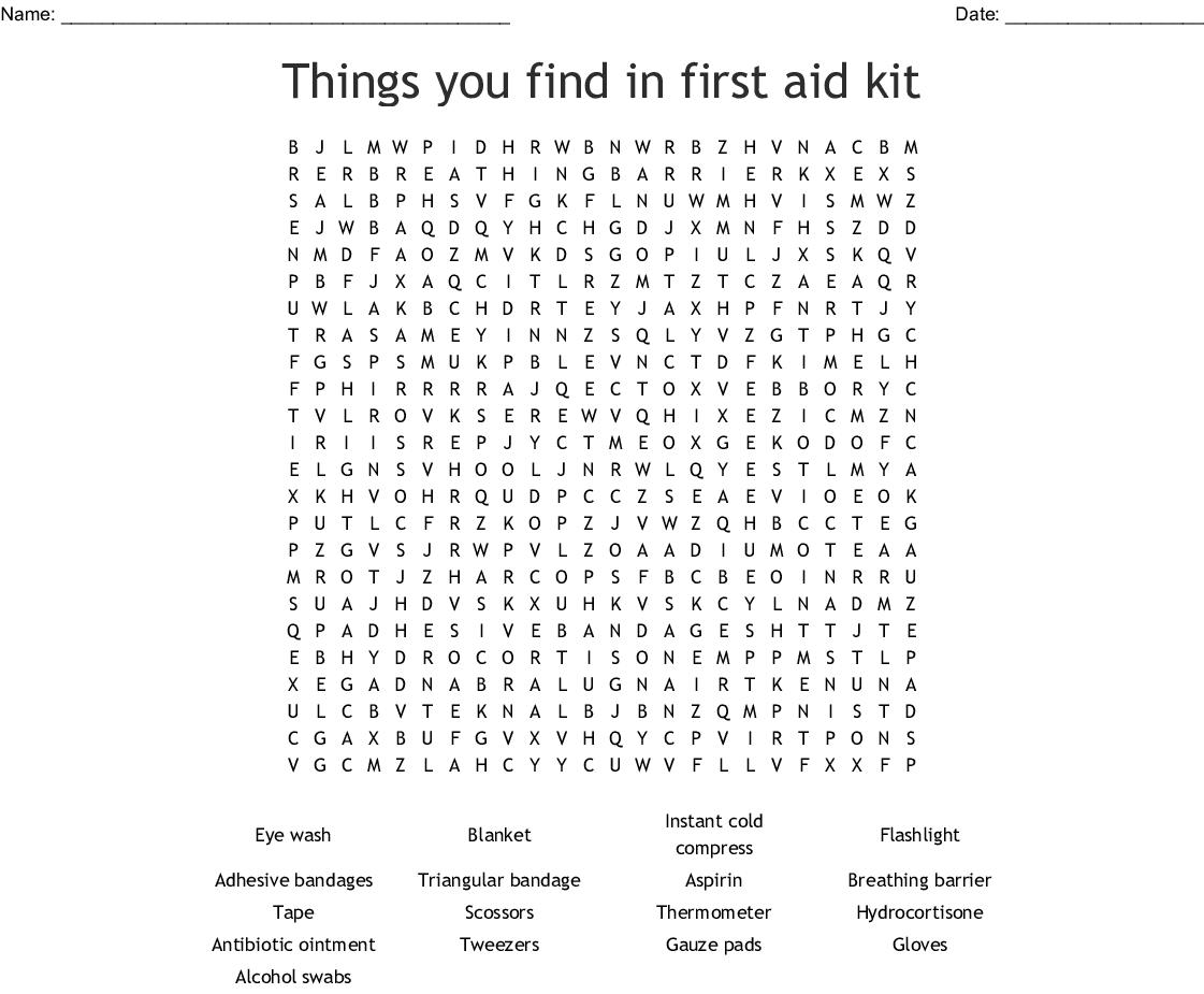 First Aid Word Scramble