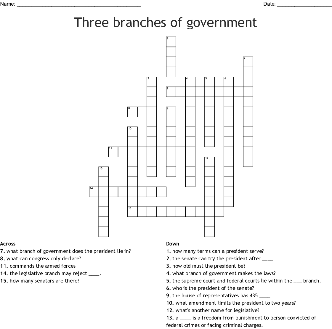 Three Branches Of Government Crossword