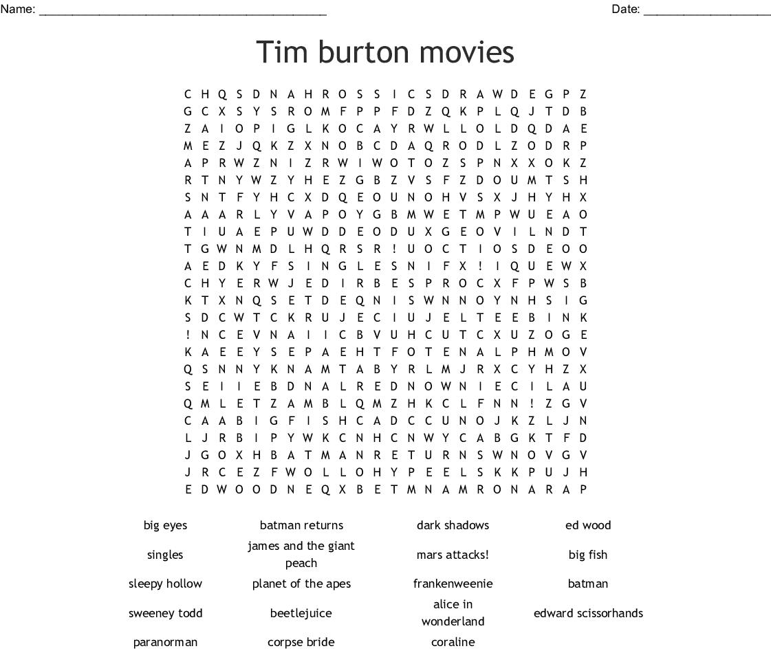 Tim Burton Movies Word Search