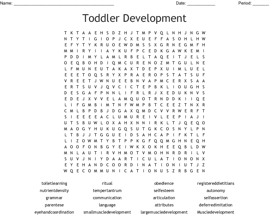 Toddler Development Word Search