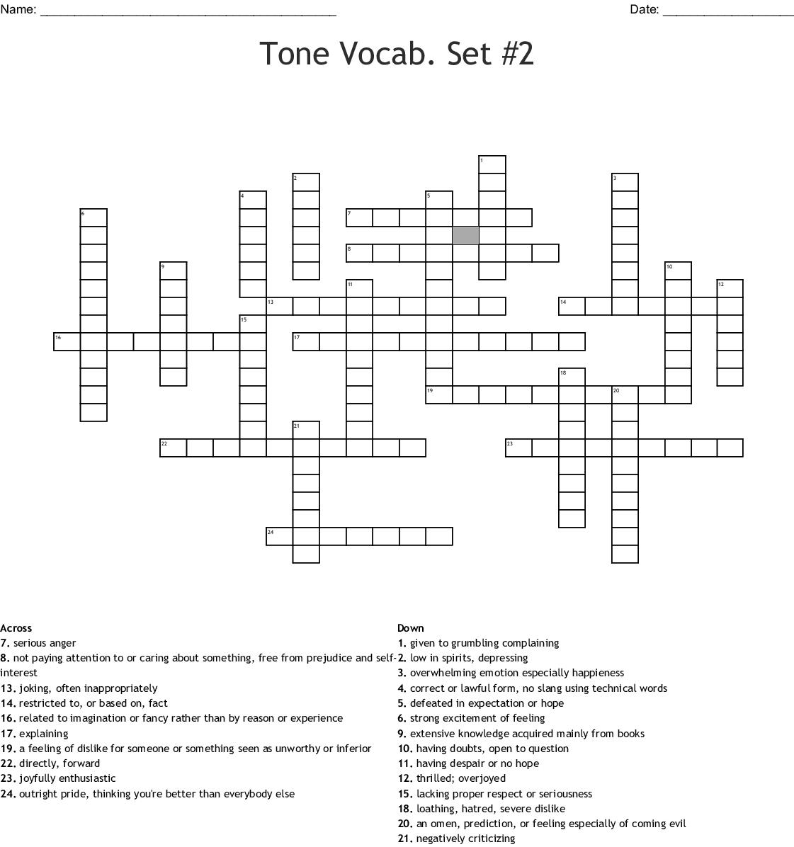 Tone And Mood Vocab Set 2 Crossword