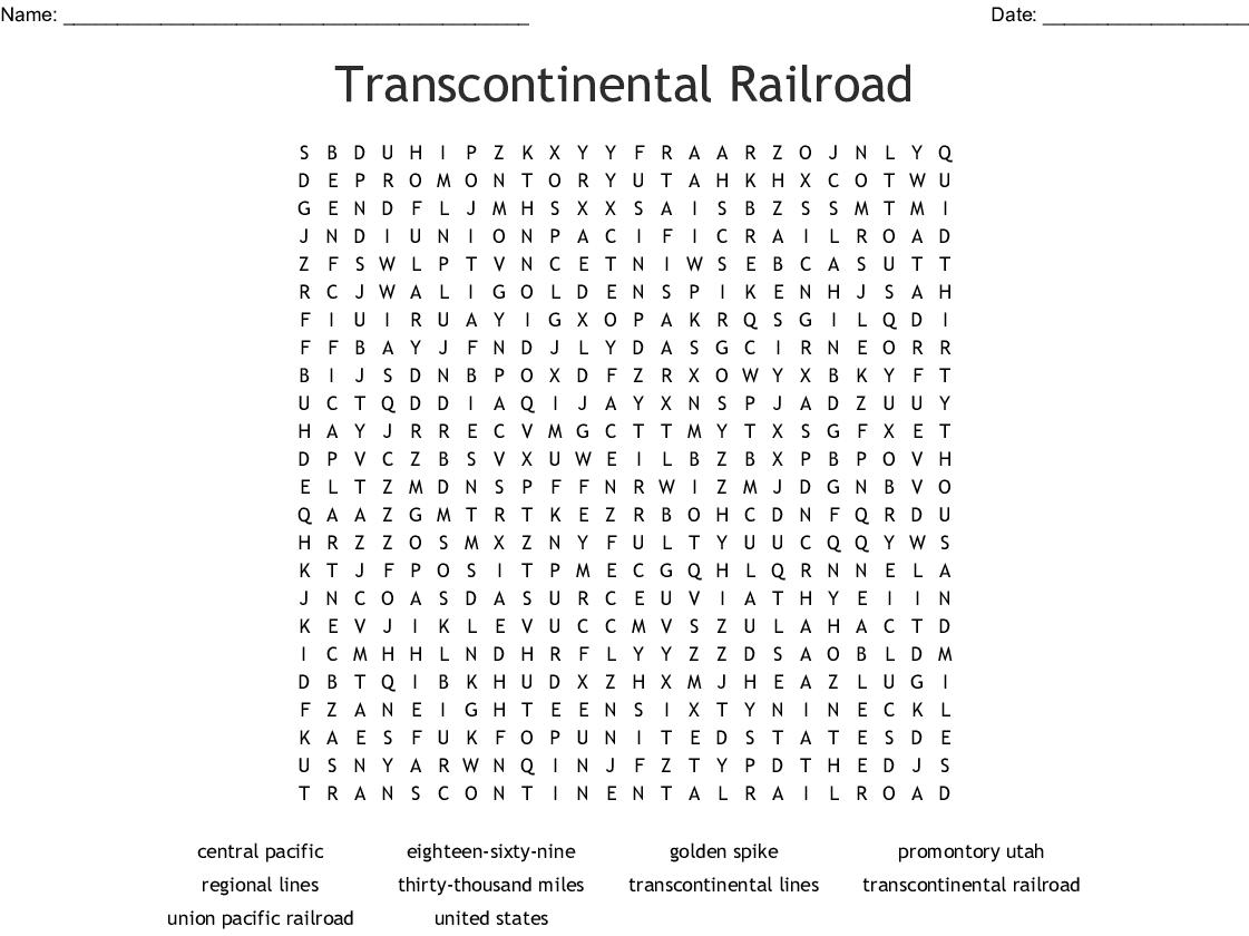 Transcontinental Railroad Crossword