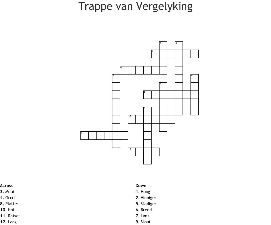 Trappe Van Vergelyking Crossword