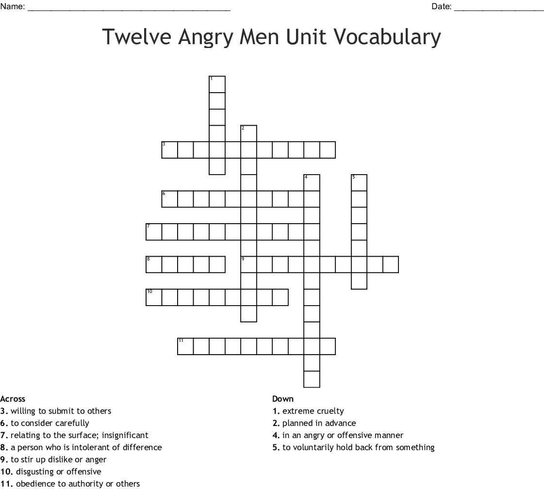 Twelve Angry Men Unit Vocabulary Crossword