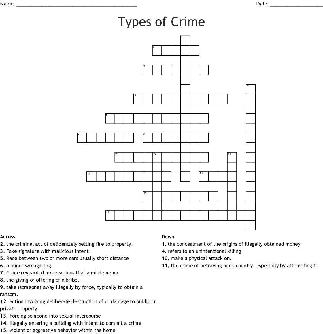 Crime Punishment Crossword
