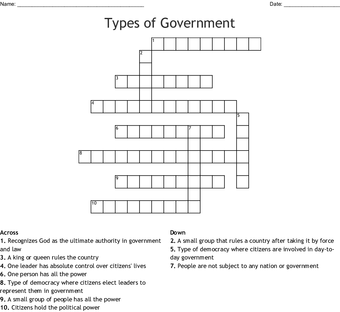 Government Terms Crossword