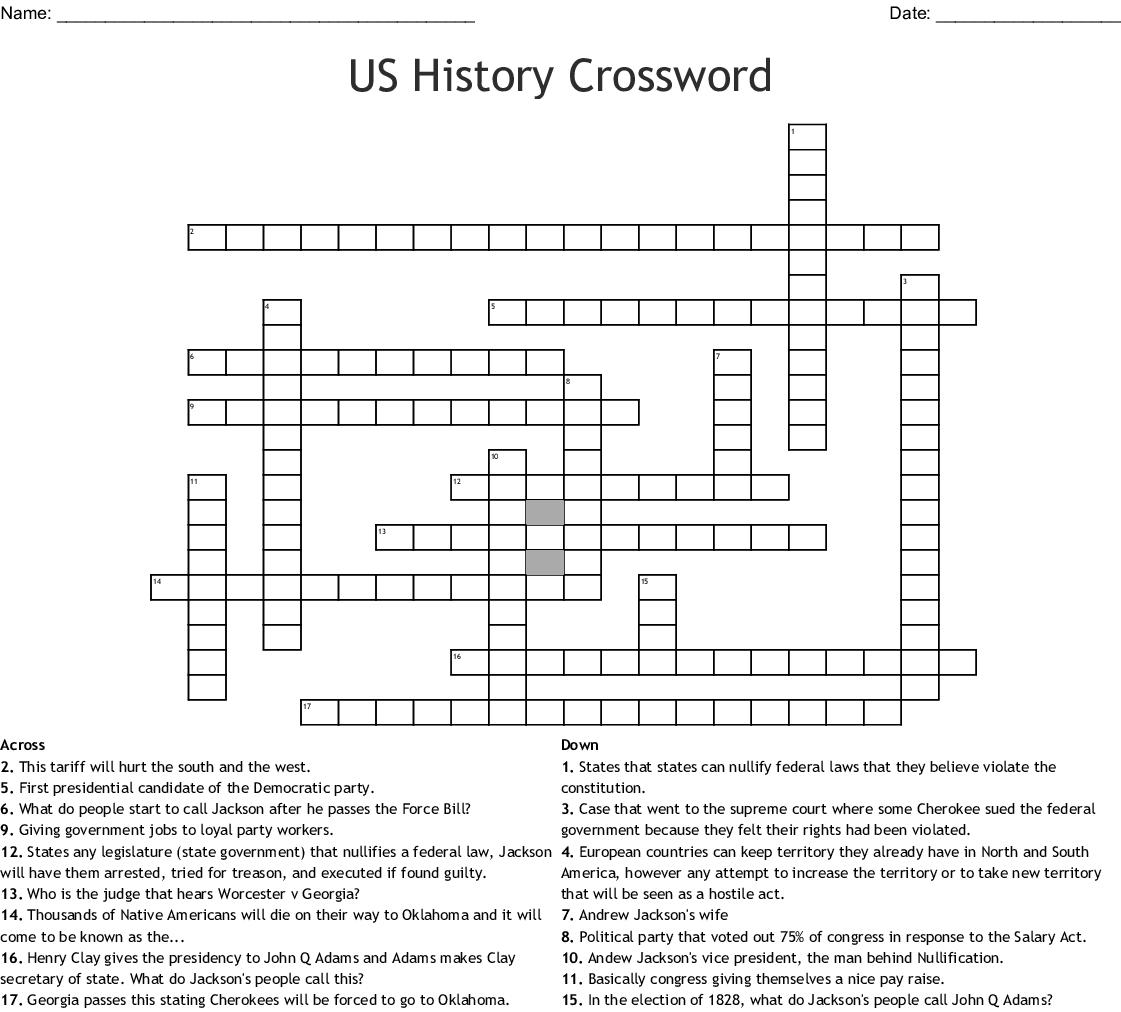 Us History Crossword