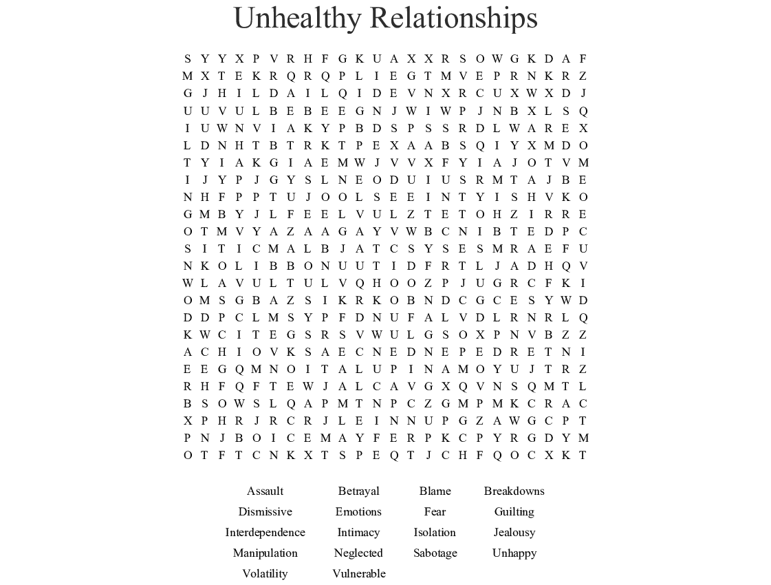 Unhealthy Relationships Word Search