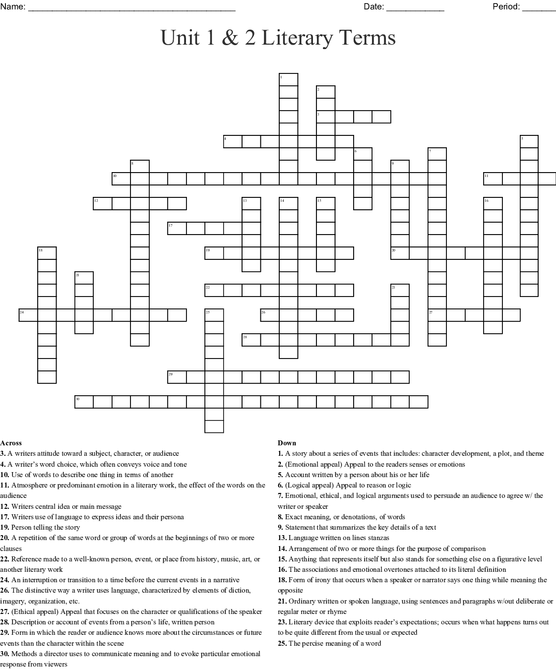 9th Grade Literary Terms Crossword