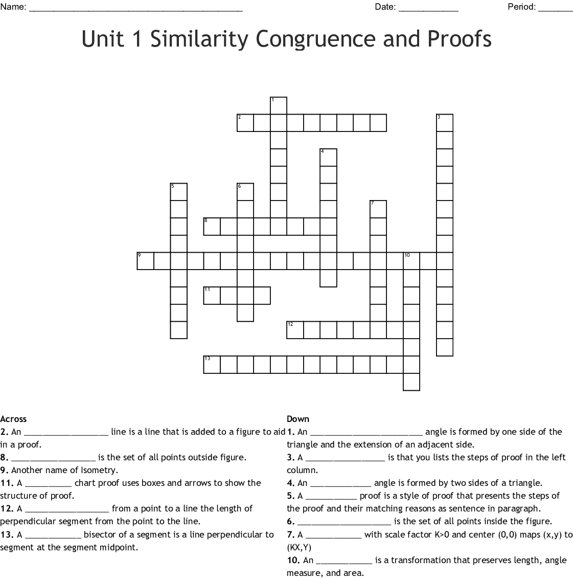 Unit 1 Similarity Congruence And Proofs Crossword