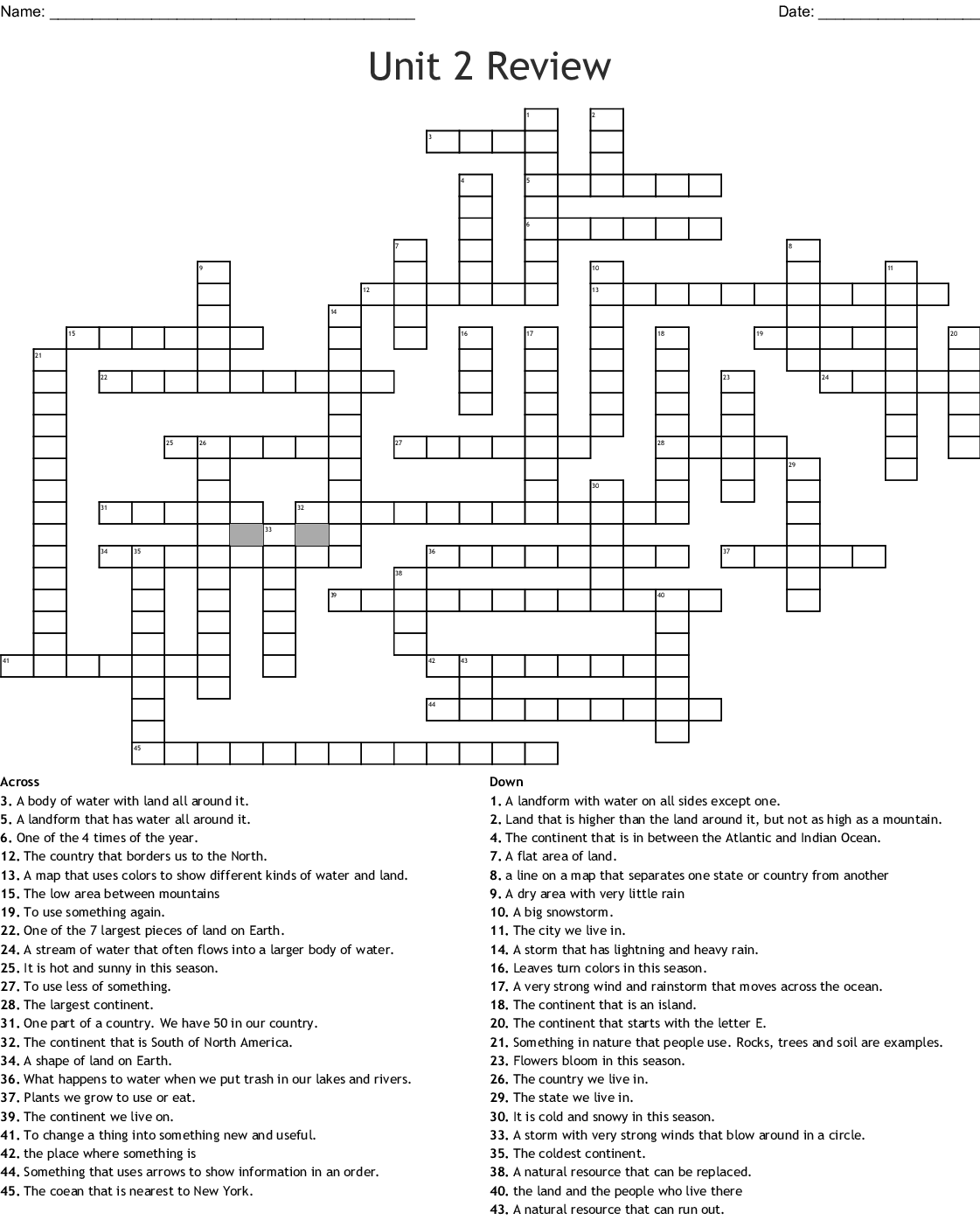 Continents And Oceans Crossword