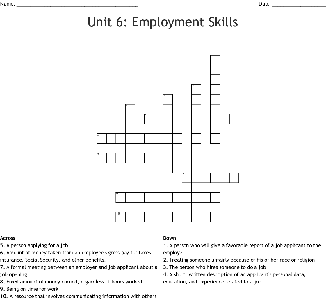 Unit 6 Employment Skills Crossword