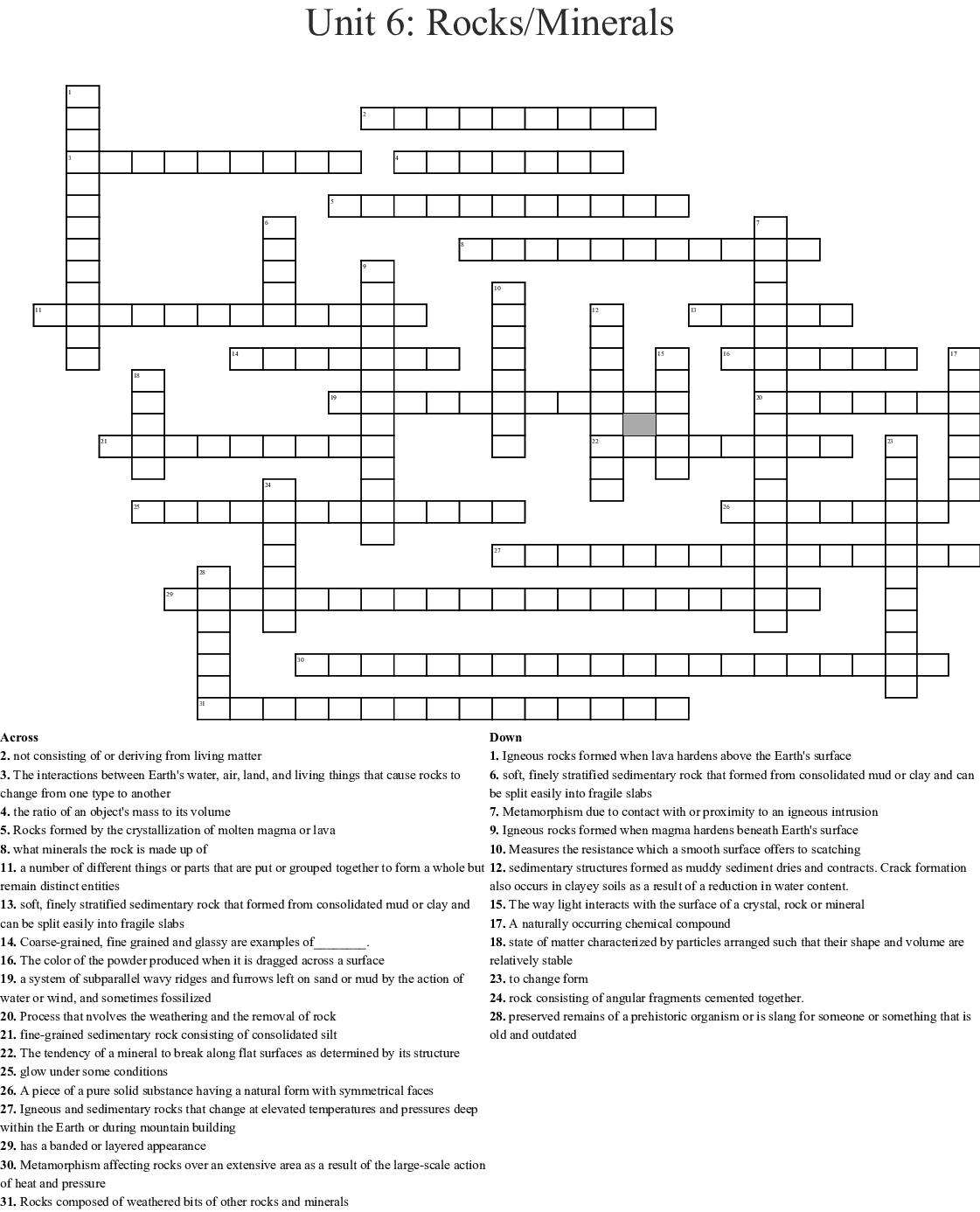 Rocks and minerals Word Search - WordMint