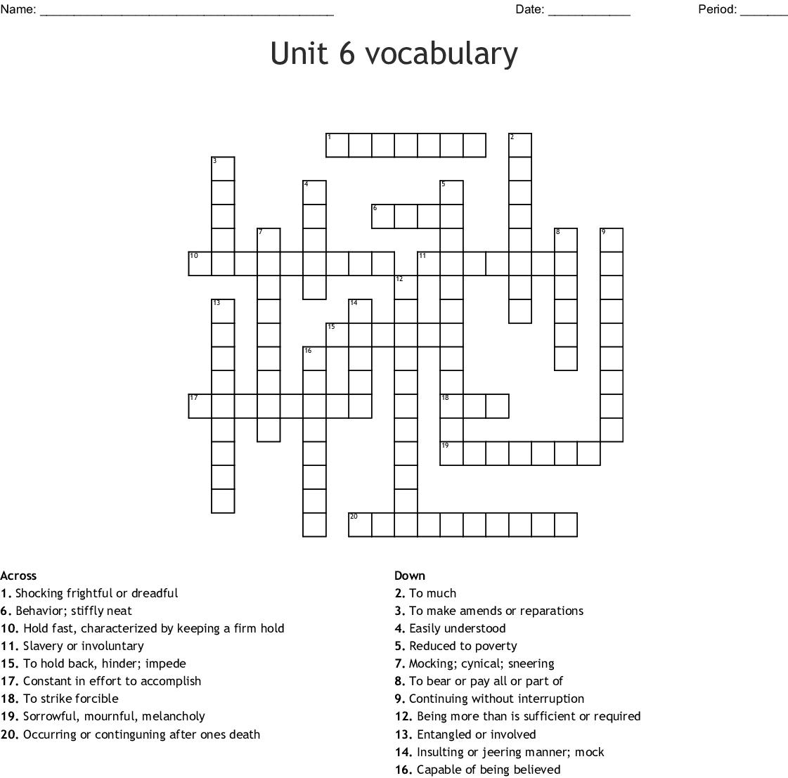 Vocabulary Units 4 5 6 Crossword