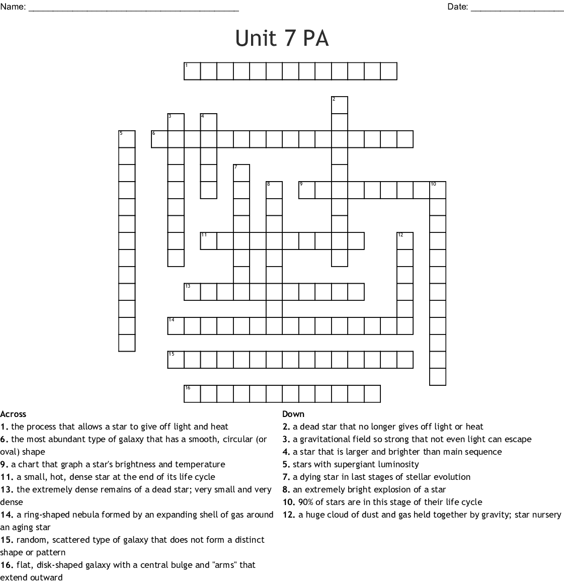 Unit 7 Pa Crossword