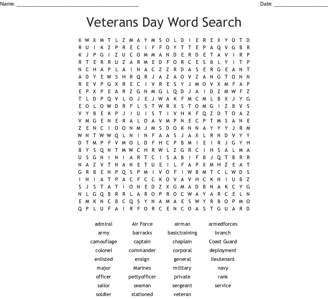 Armed Forces Word Search