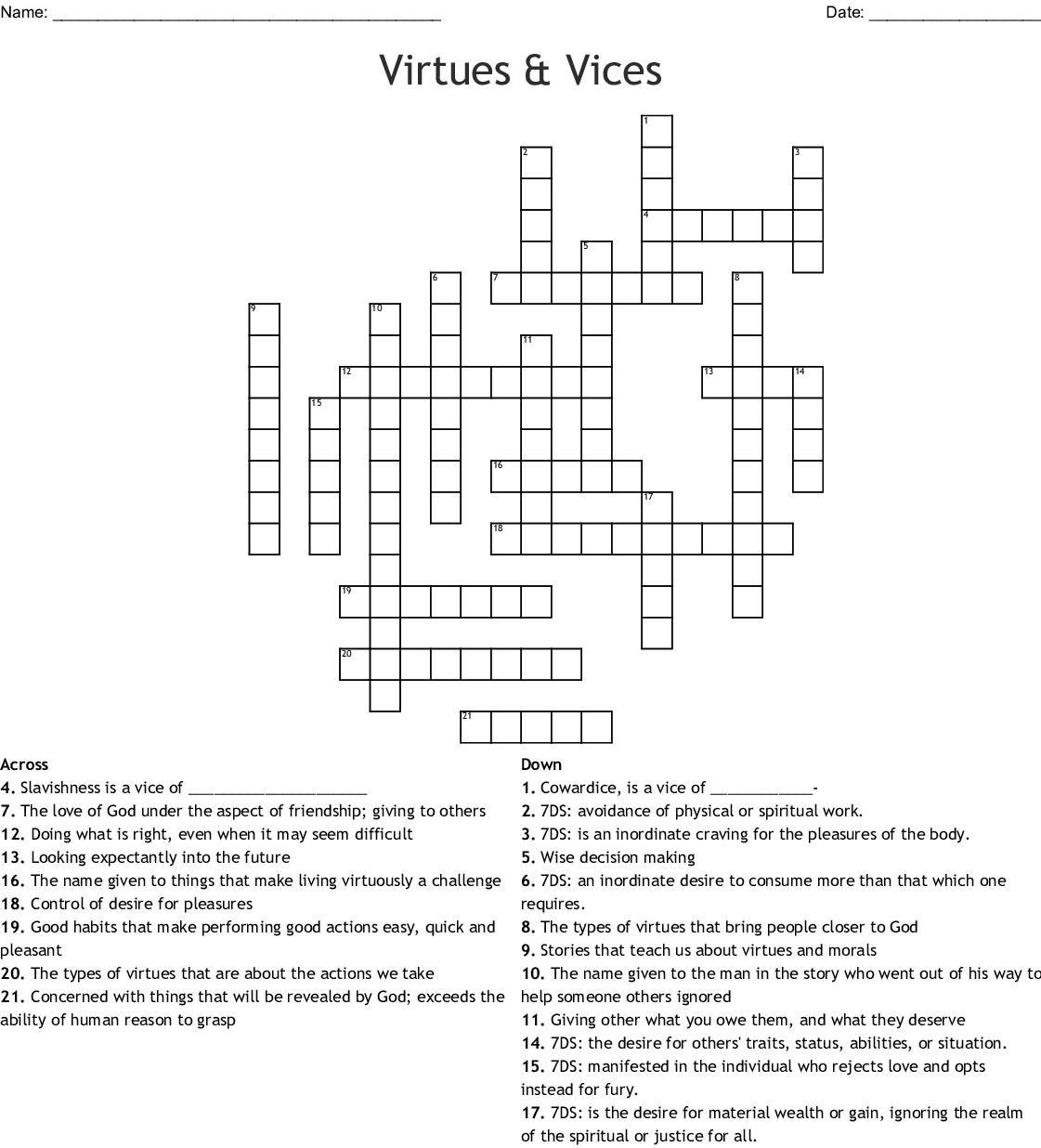 Vices And Virtues Word Search