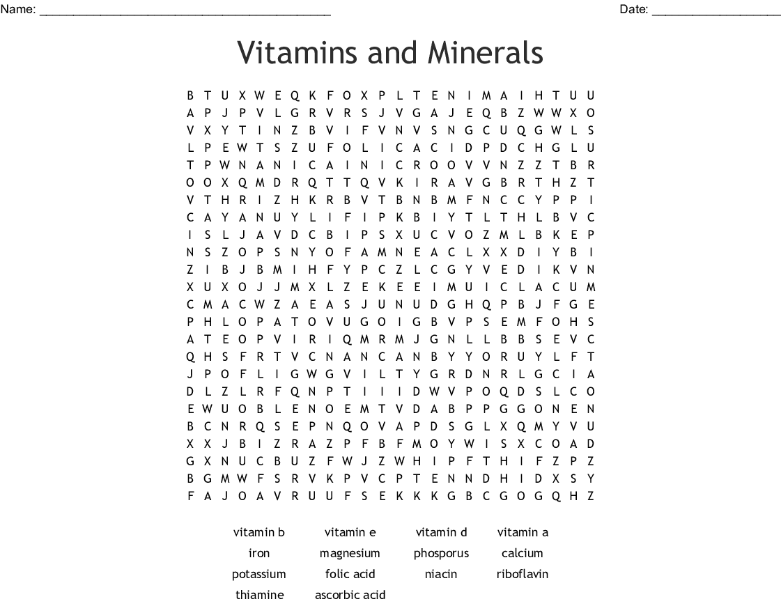 Vitamins And Minerals Word Search