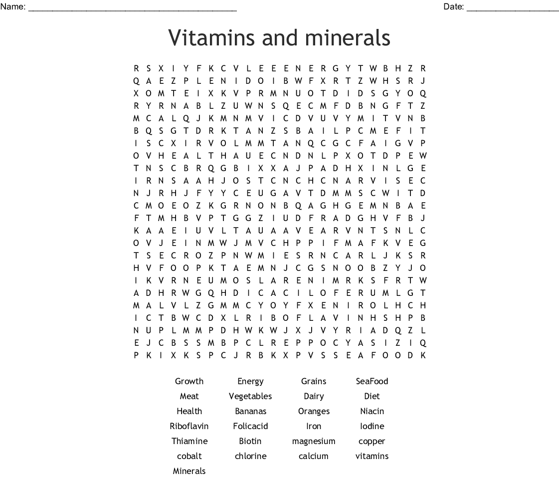 Nutrition Word Search Answer Key