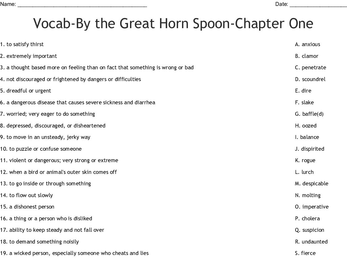 Vocab By The Great Horn Spoon Chapter One Worksheet