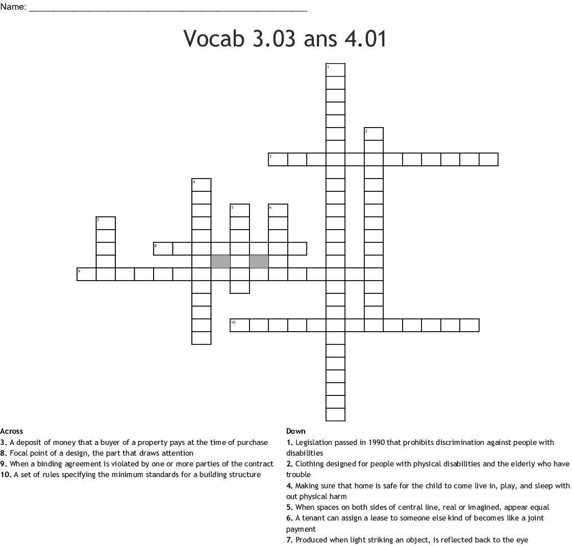 Vocab 3 03 Ans 4 01 Crossword