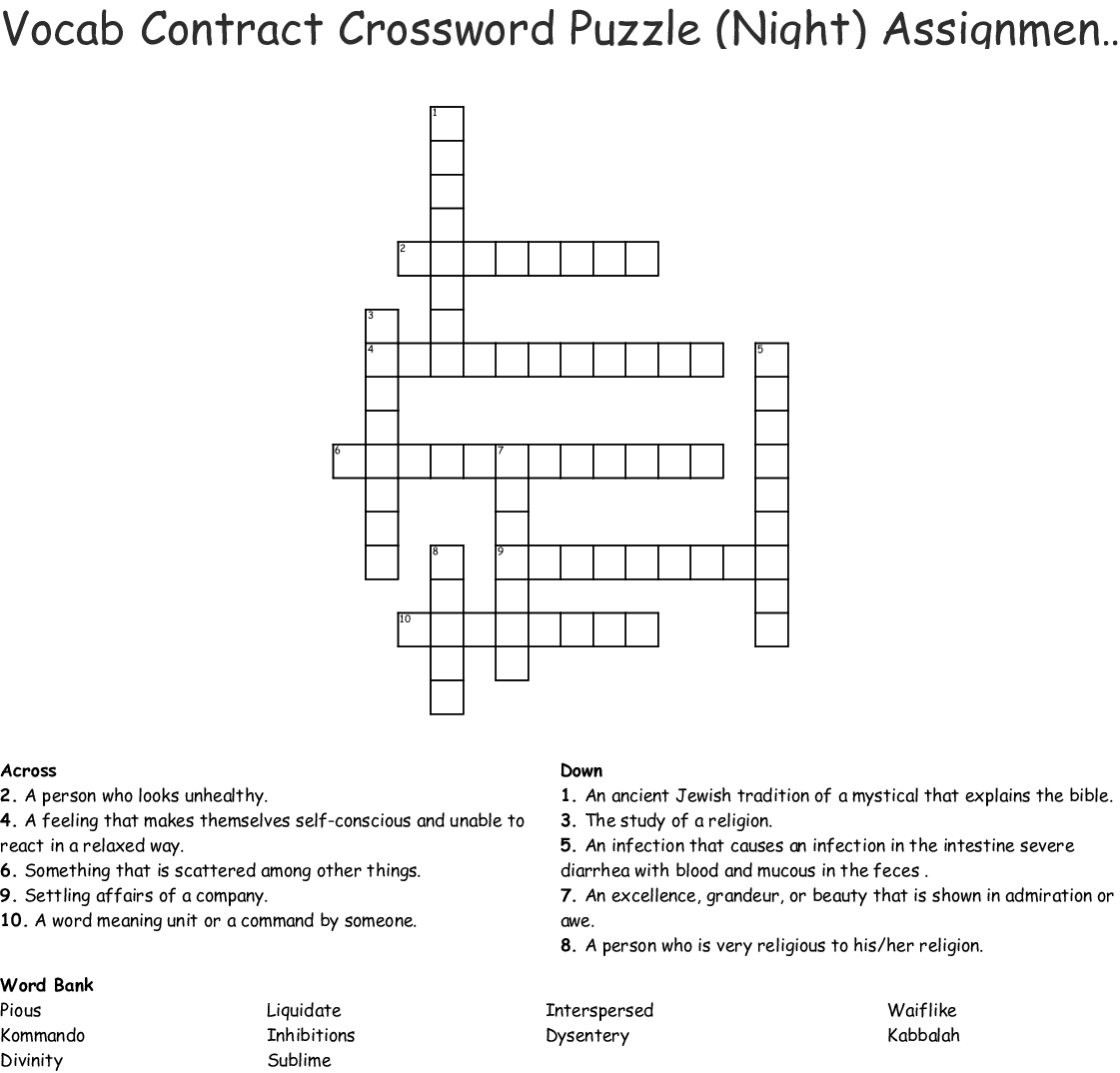 Vocab Contract Crossword Puzzle Night Assignment 3 Activity 14