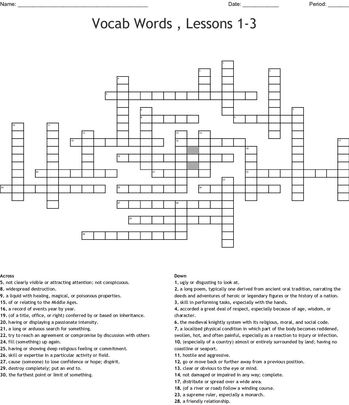 Vocab Words Lessons 1 3 Crossword