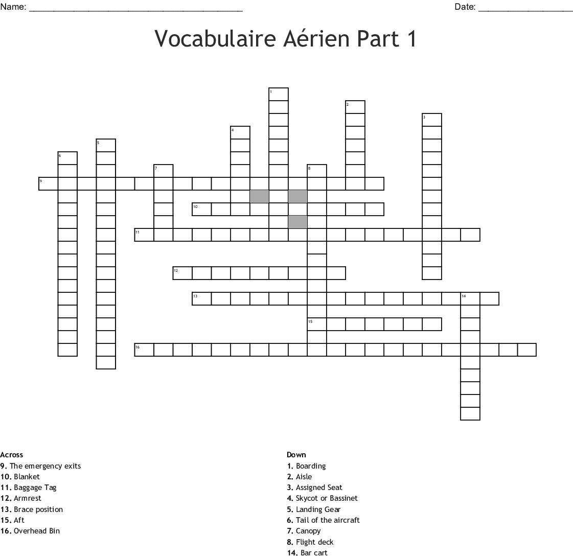 French Vocabulary Worksheet