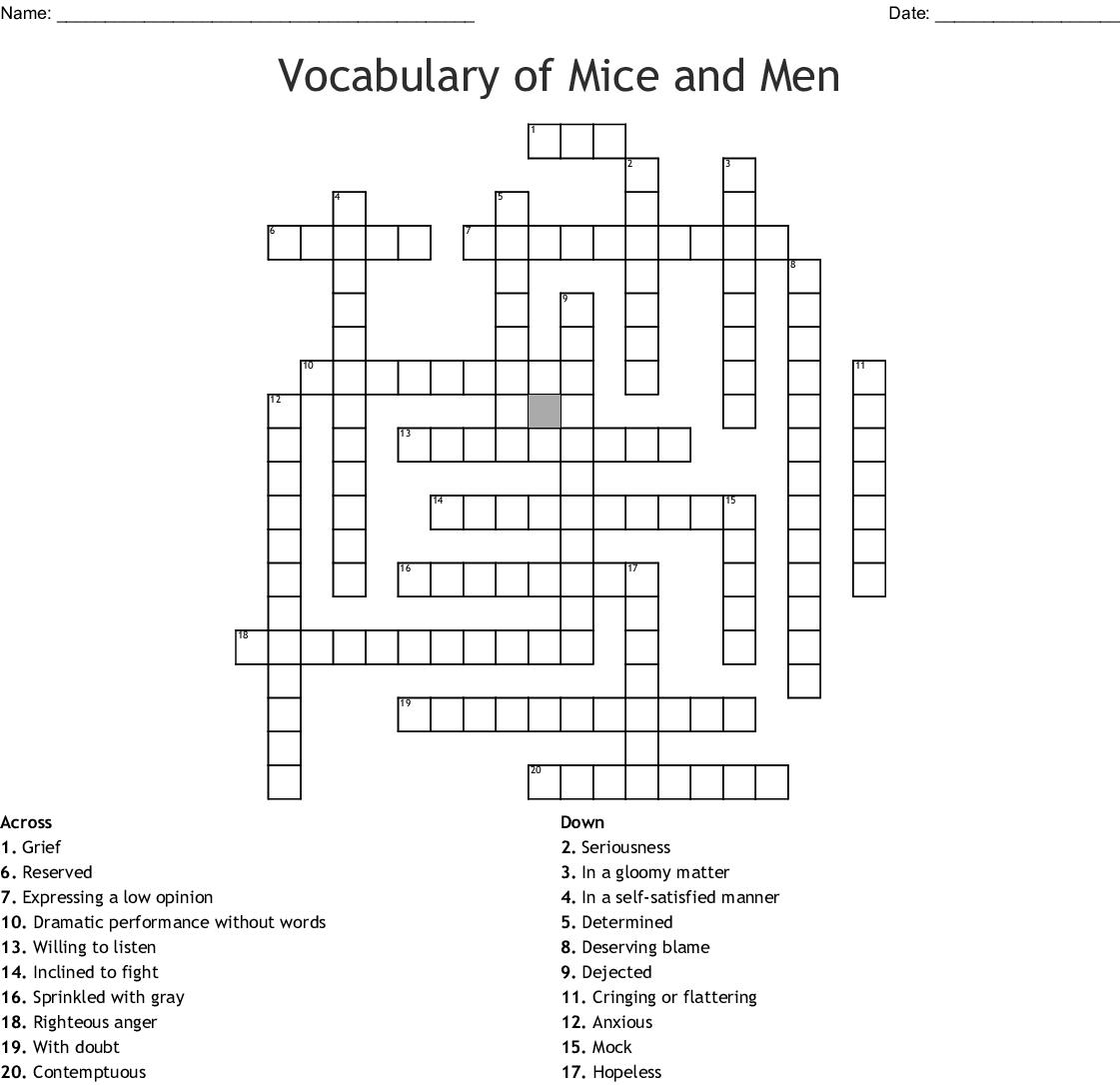 Of Mice And Men Vocabulary Crossword