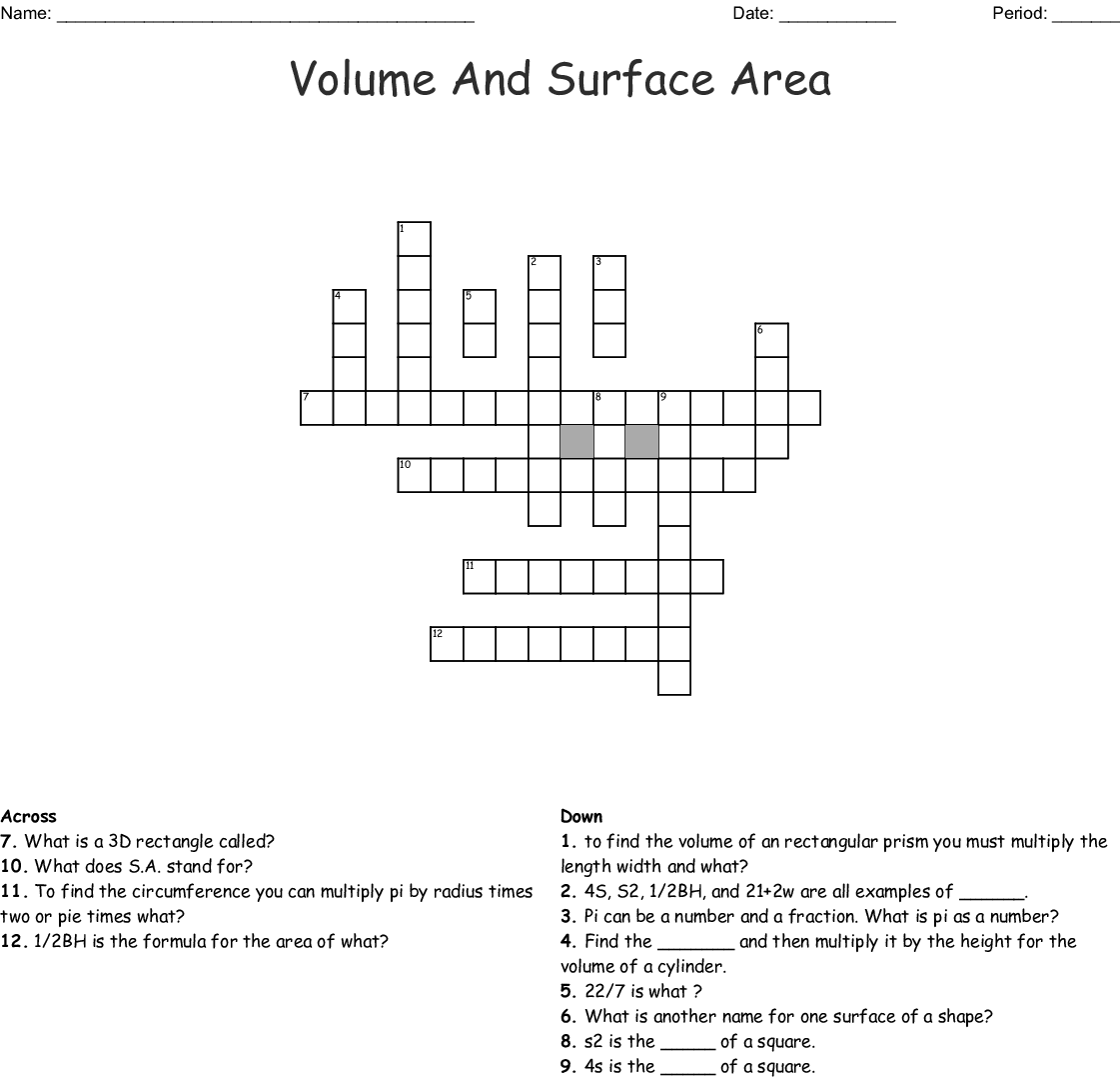 Volume And Surface Area Crossword