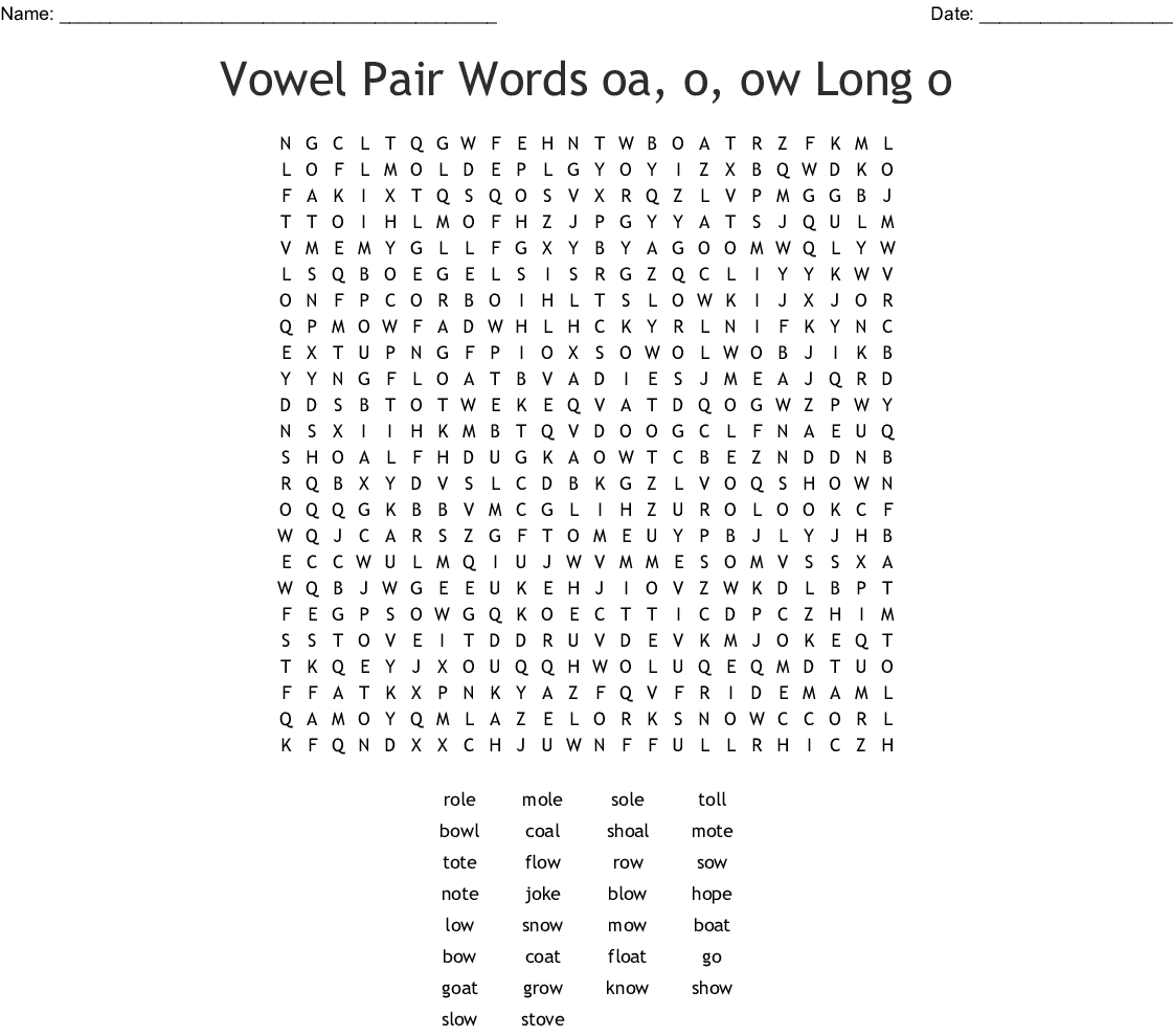 Oa Ow Oe Vowel Teams Word Search