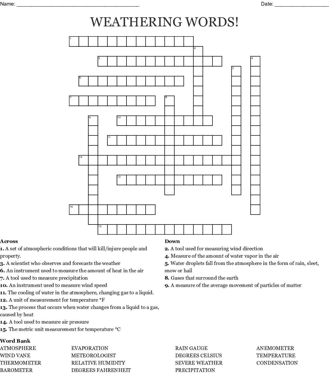 Weathering Words Crossword
