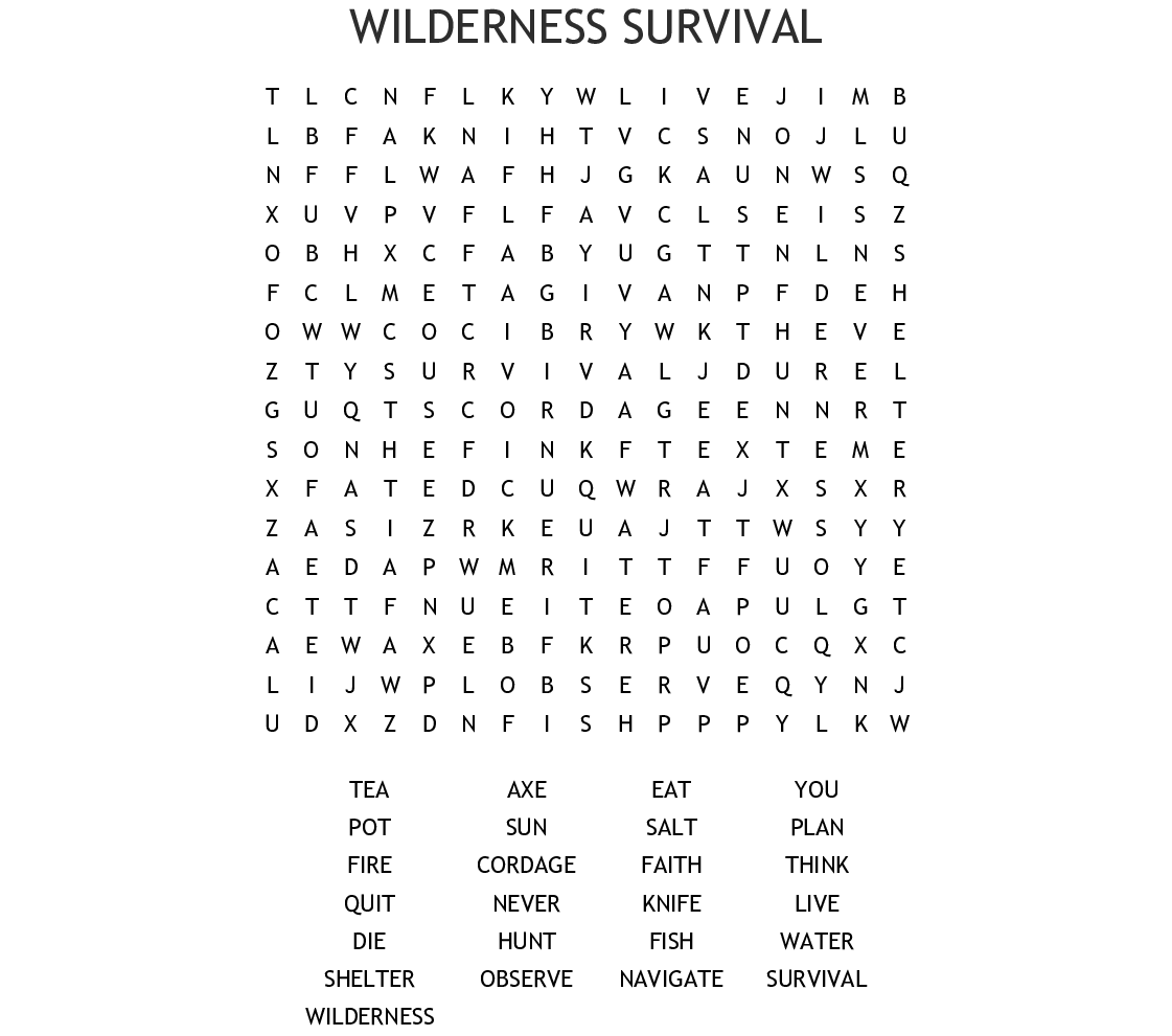 Wilderness Survival Word Search