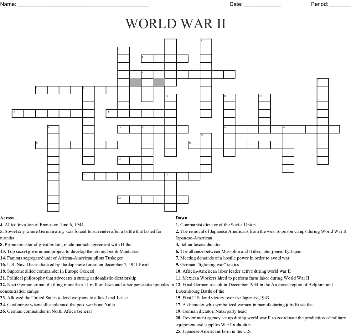 World War Ii Crossword