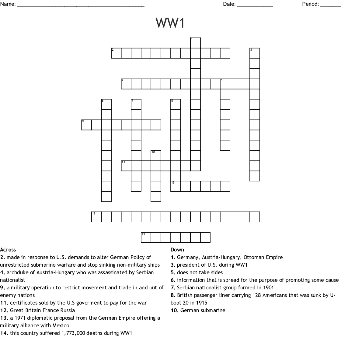 World War 1 Imperialism Crossword Puzzle