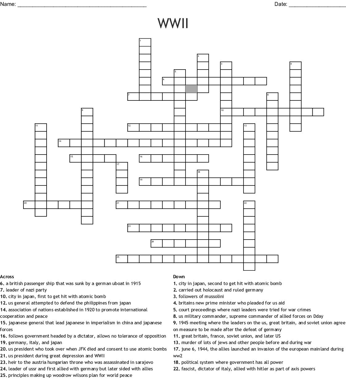 World War 2 Crossword Puzzle