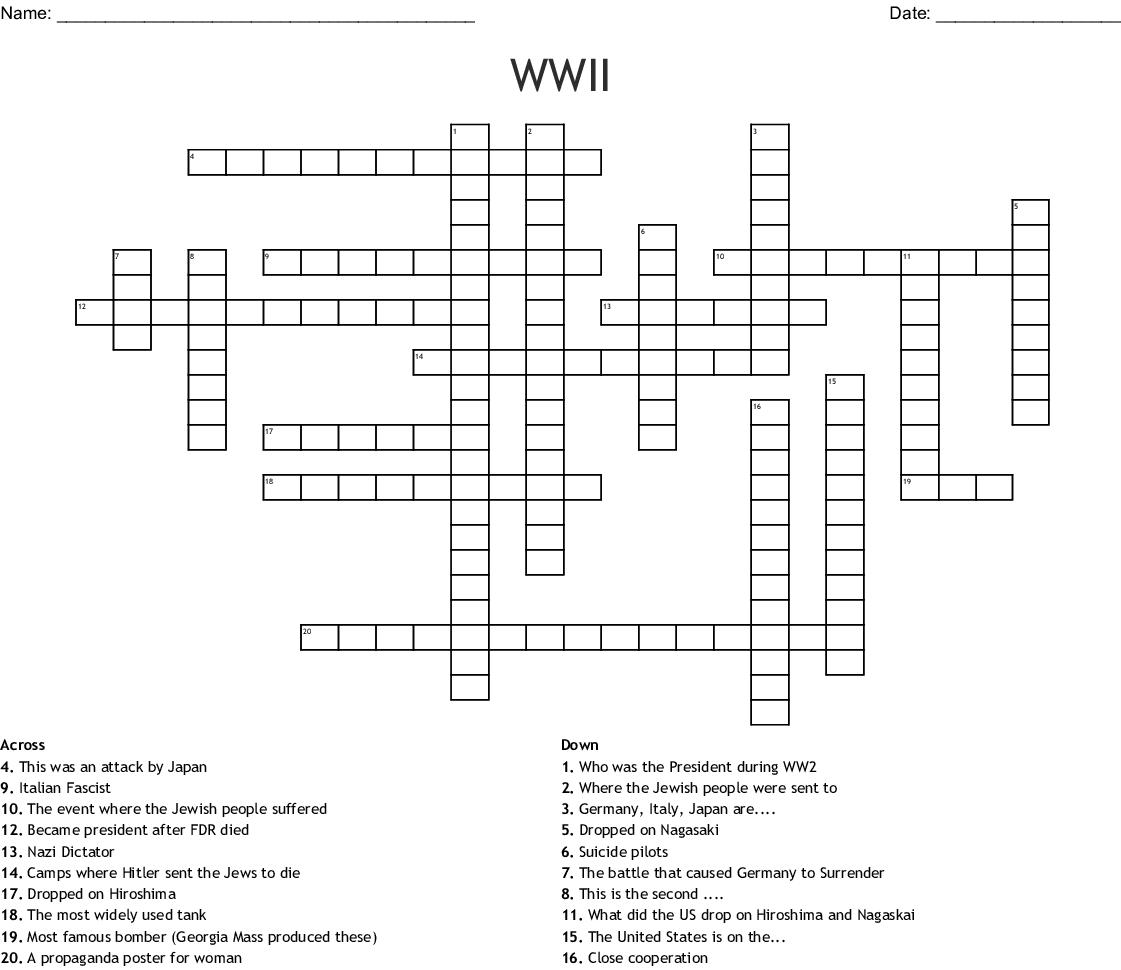 Wwii Crossword
