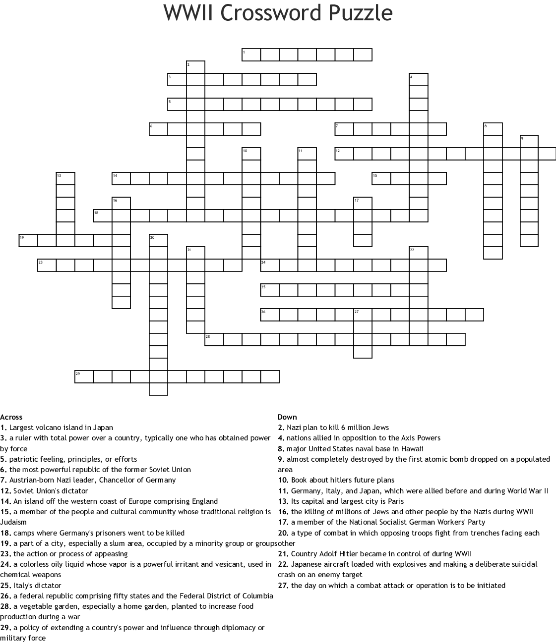 Ww2 Crossword Puzzle