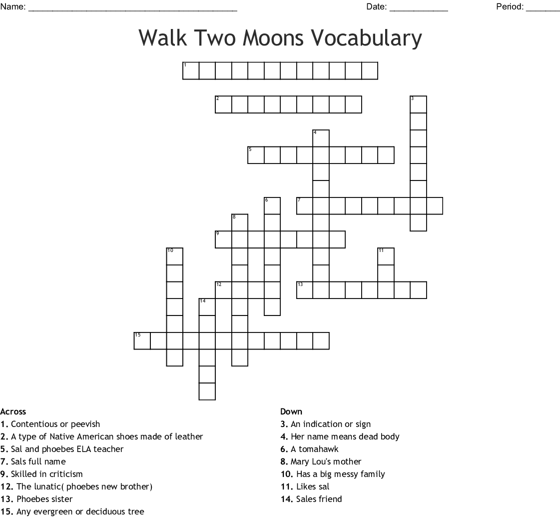Walk Two Moons Vocabulary Crossword