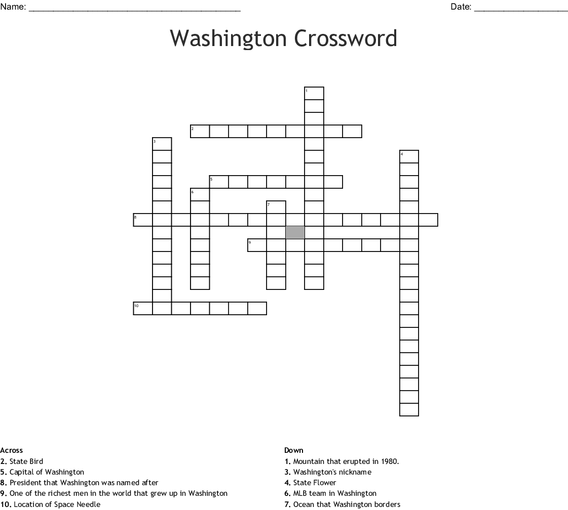 Washington State Word Search