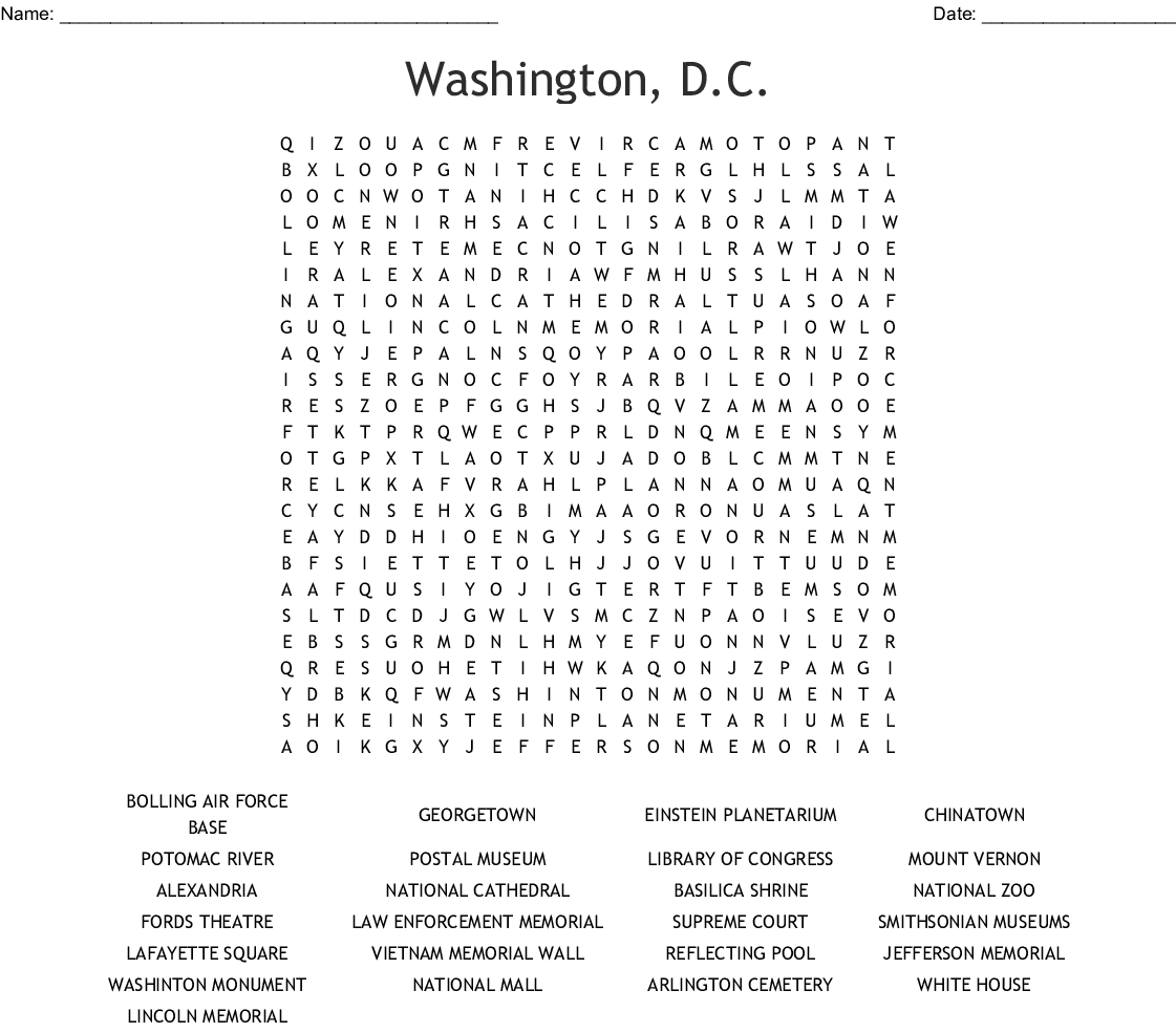 Washington D C Word Search