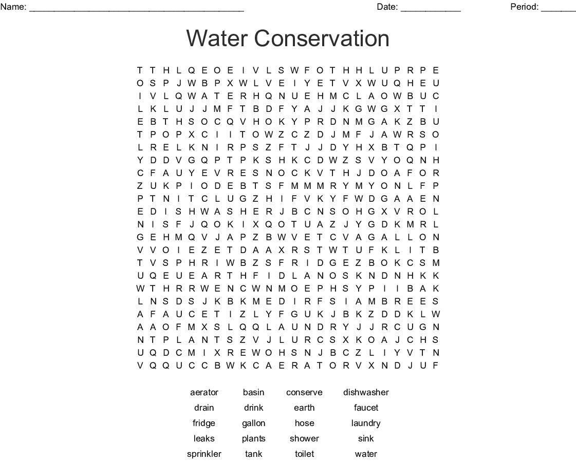 Water Conservation Crossword