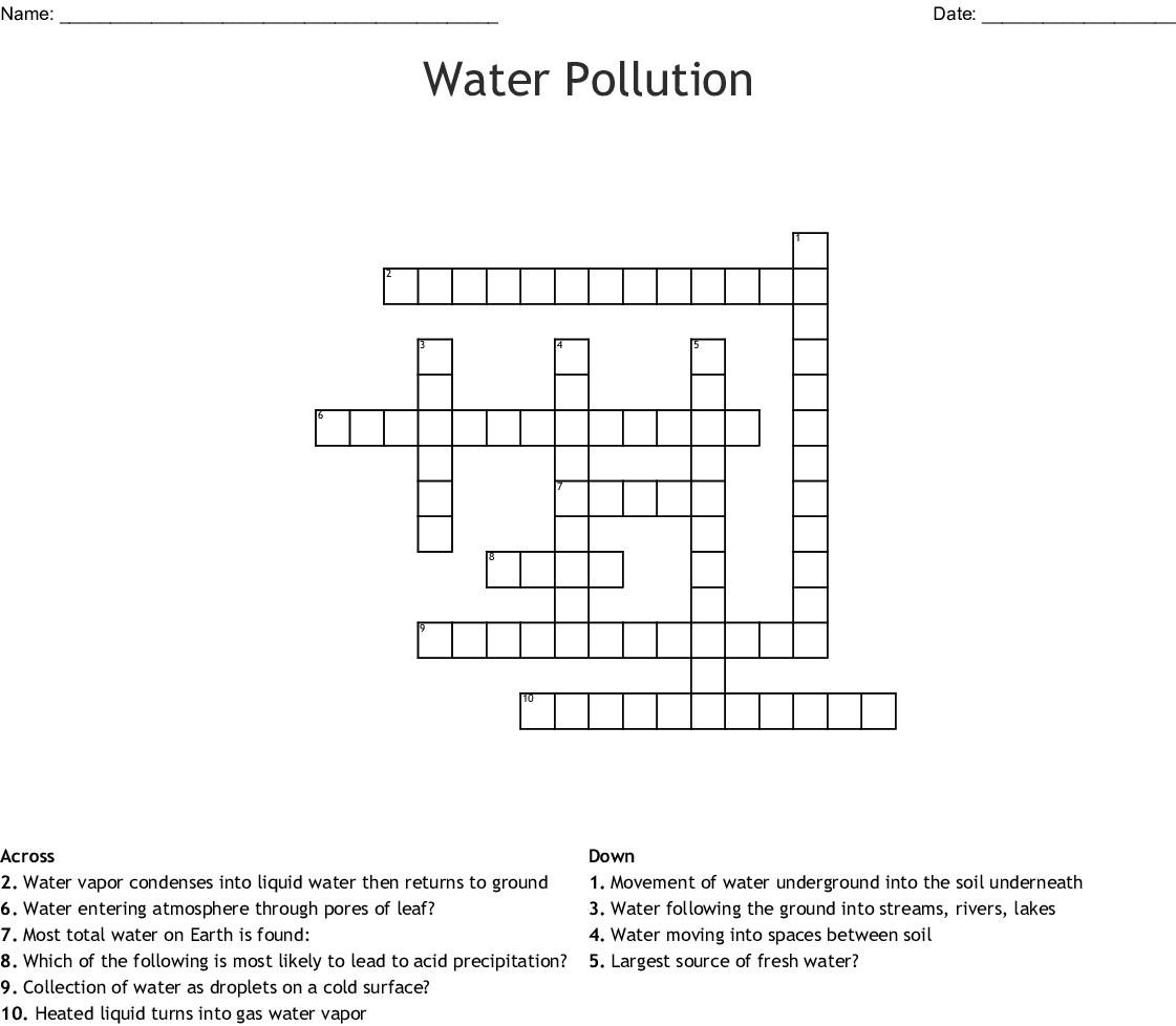 Water Pollution Crossword