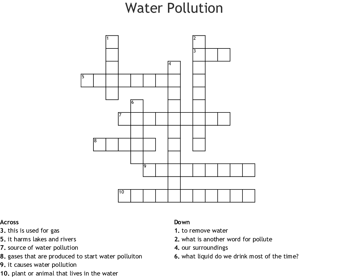 Green Living Amp Environmental Issues Crosswords Word