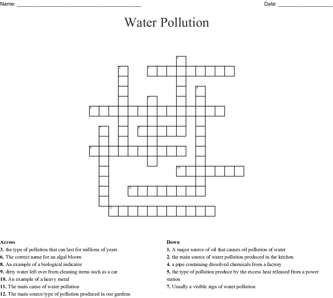 Water Pollution Crossword