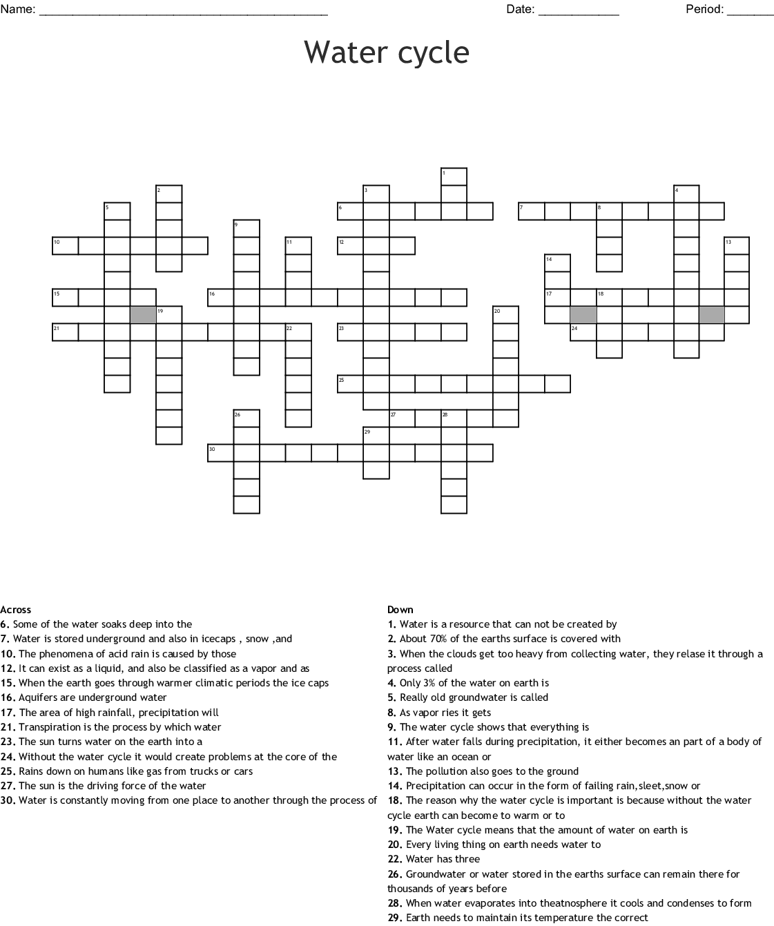 The Water Cycle Crossword